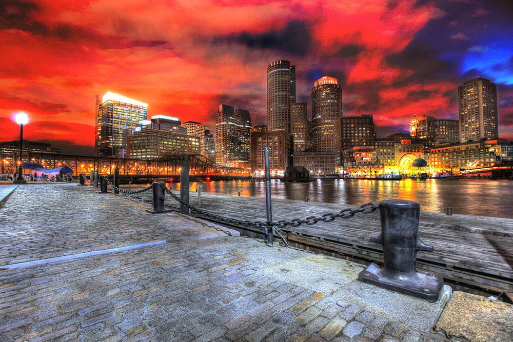 Boston Cityscape at Night 01 - Colorful Stock Photos