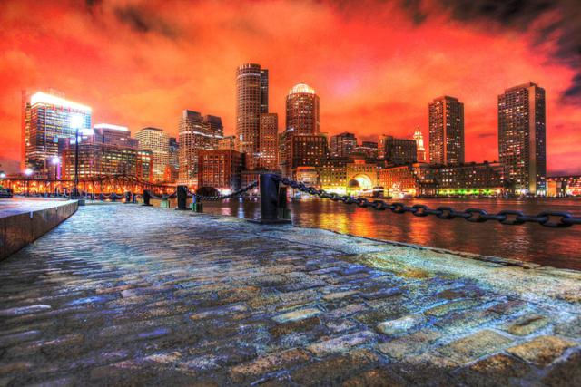 Boston Cityscape at Night 02 - Colorful Stock Photos