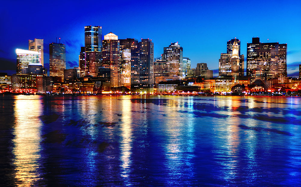 Boston Cityscape at Night 03 - Colorful Stock Photos