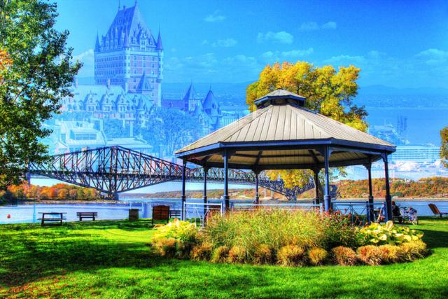 Quebec City Park and Bridge - Colorful Stock Photos
