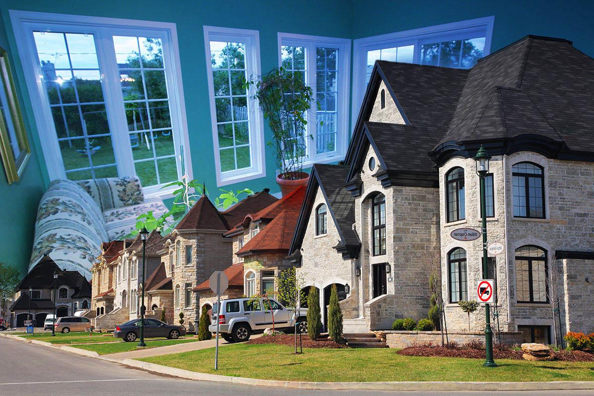 Cozy Neighborhood Photo Montage - Colorful Stock Photos