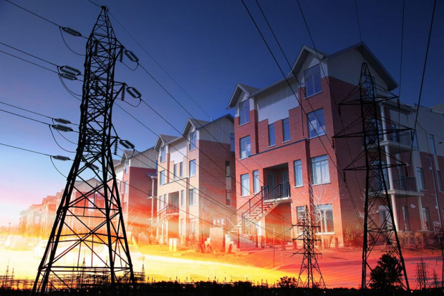 Domestic Energy Lines Photo Montage - Colorful Stock Photos