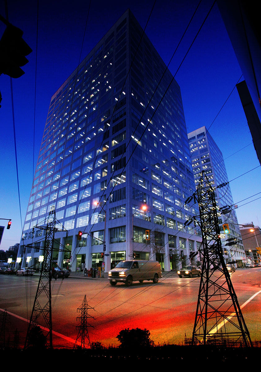 Downtown Electricity Supply Photo Montage - Colorful Stock Photos