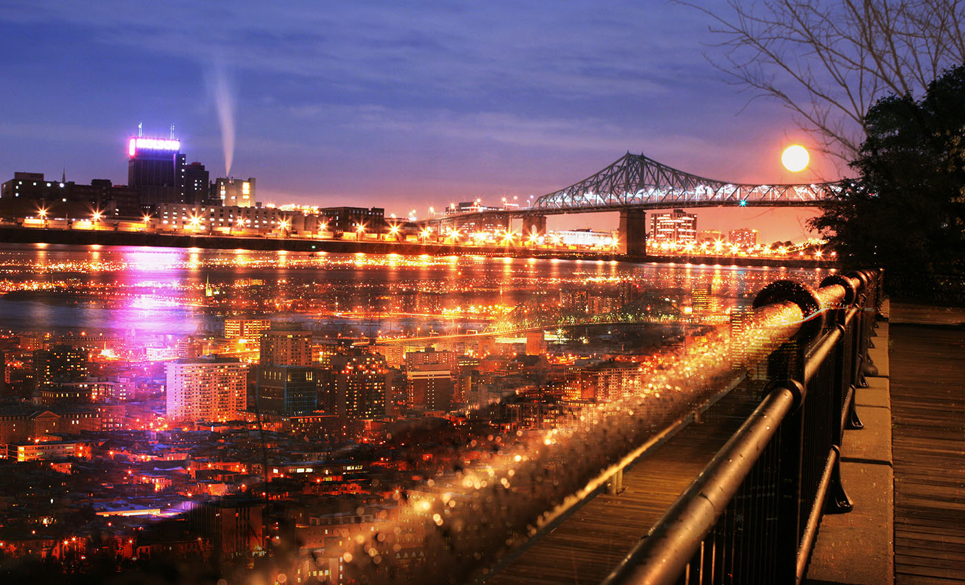 Montreal Jacques Cartier Bridge and River - Colorful Stock Photos
