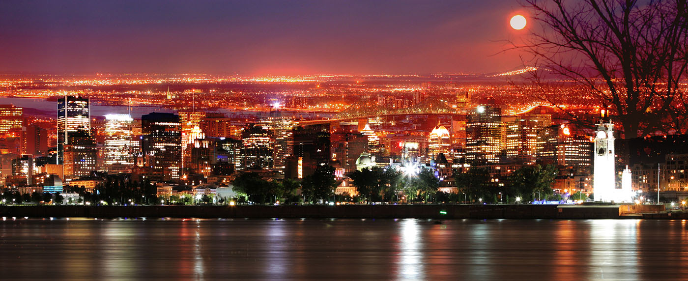 Montreal Skyline in a Beautiful Night - Colorful Stock Photos