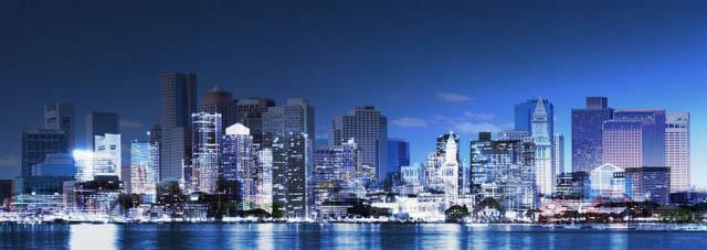 Panoramic Boston City Photo Montage - Colorful Stock Photos
