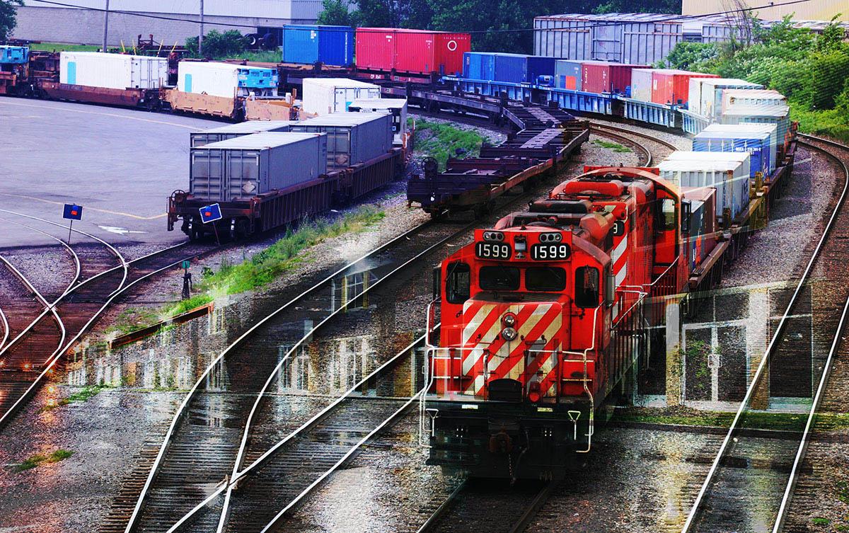 Railroad Transport Concept Photo Montage 01 - Colorful Stock Photos