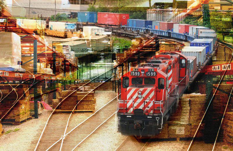 Railroad Transport Concept Photo Montage 02