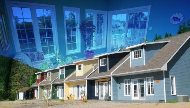 Resort Condos Photo Montage - Colorful Stock Photos