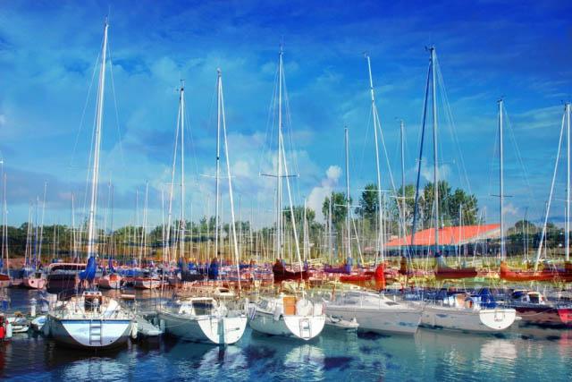 Sail Boats Marina Photo Montage - Colorful Stock Photos