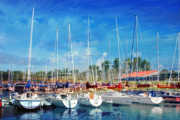 Sail Boats Marina Photo Montage - Colorful Stock Photos
