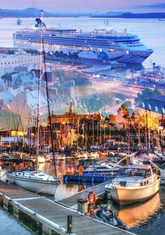 Urban Marina and Dock Photo Montage - Colorful Stock Photos