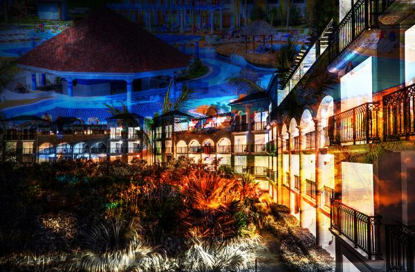 Caribbean Hotel Photo Montage - Colorful Stock Photos