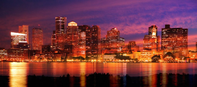 Downtown Boston Skyline - Colorful Stock Photos