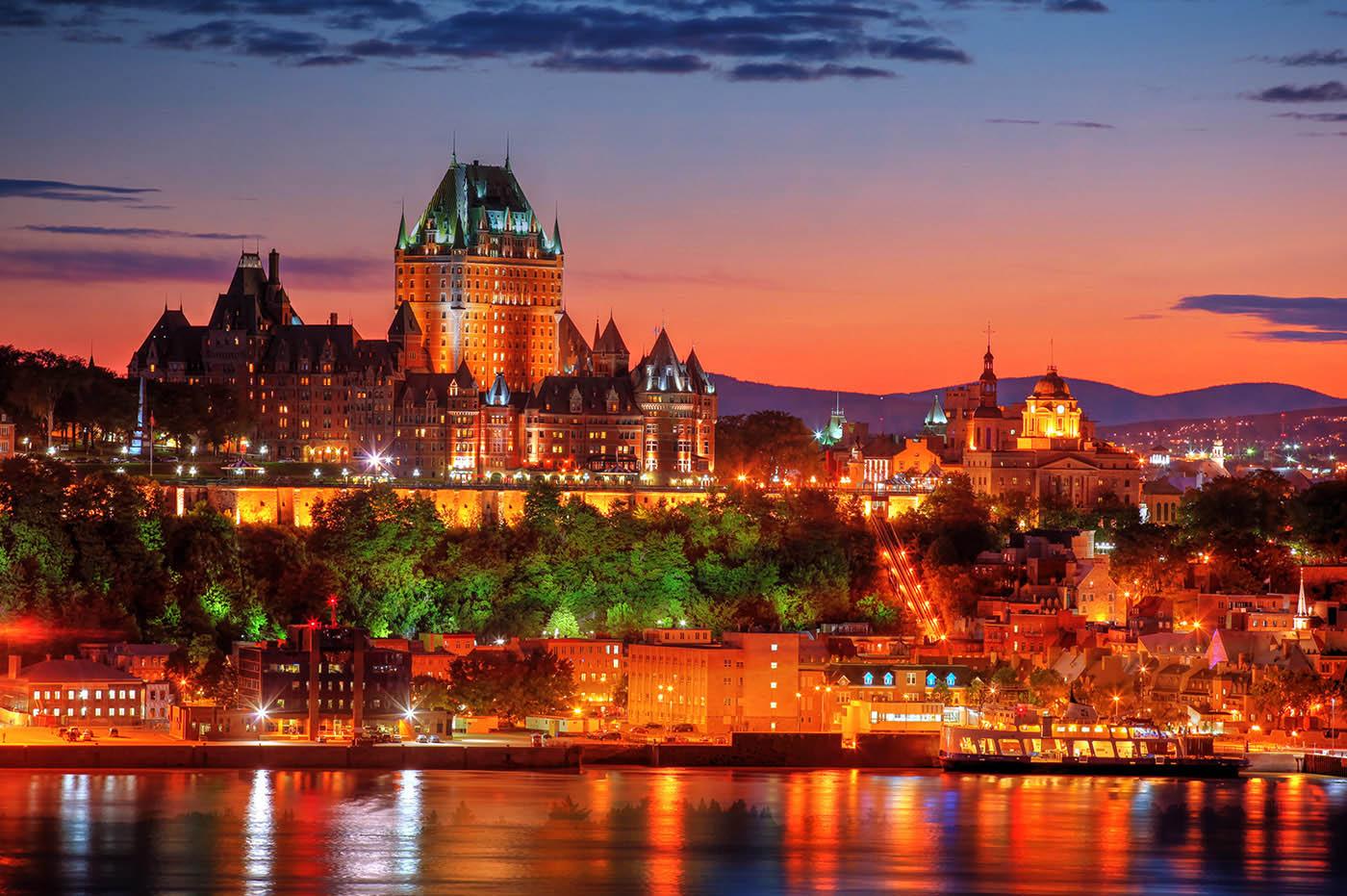 Quebec Frontenac Castle Montage 02 - Colorful Stock Photos