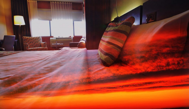 Sunset Bed Cover 1 - Colorful Stock Photos