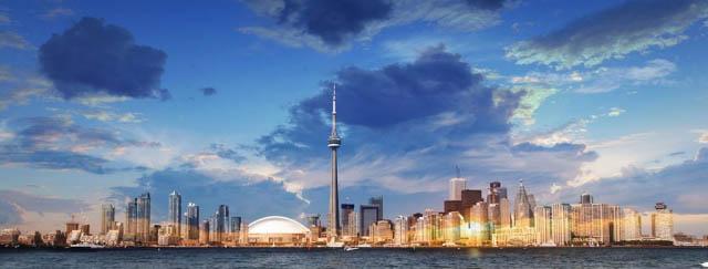 Toronto City Daytime Skyline - Colorful Stock Photos