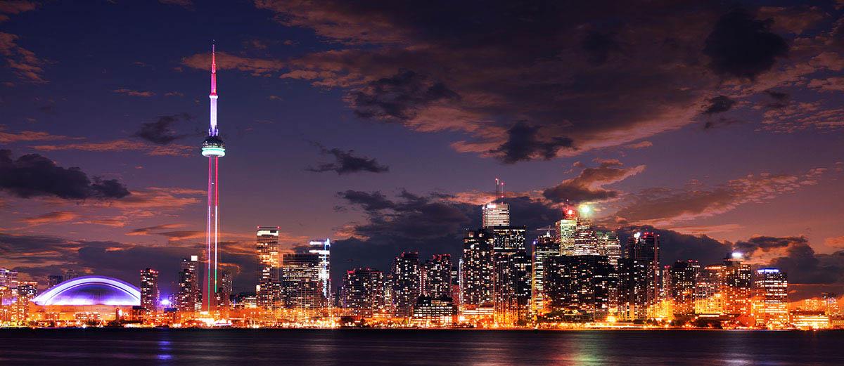 Toronto City Nighttime Skyline - Colorful Stock Photos