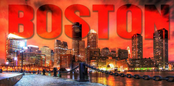 Boston City with Text 1 - Colorful Stock Photos