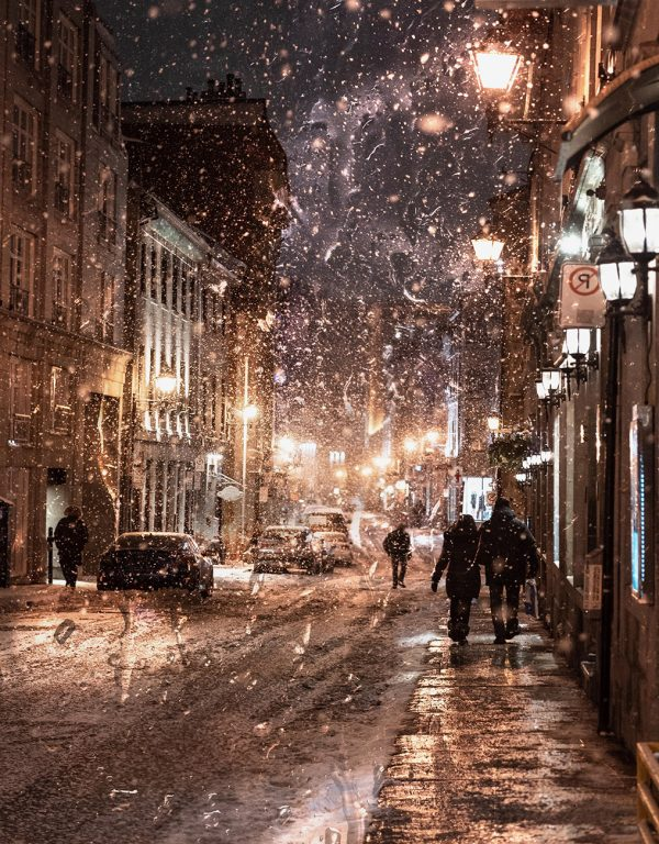 Bad Winter Weather in City Street - Colorful Stock Photos