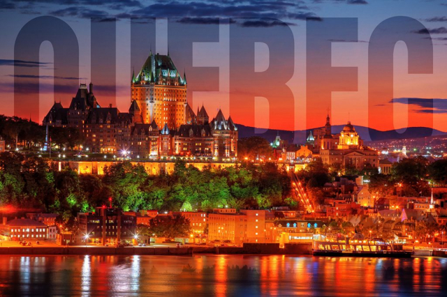 Quebec Frontenac Castle Montage with Text 02 - Colorful Stock Photos