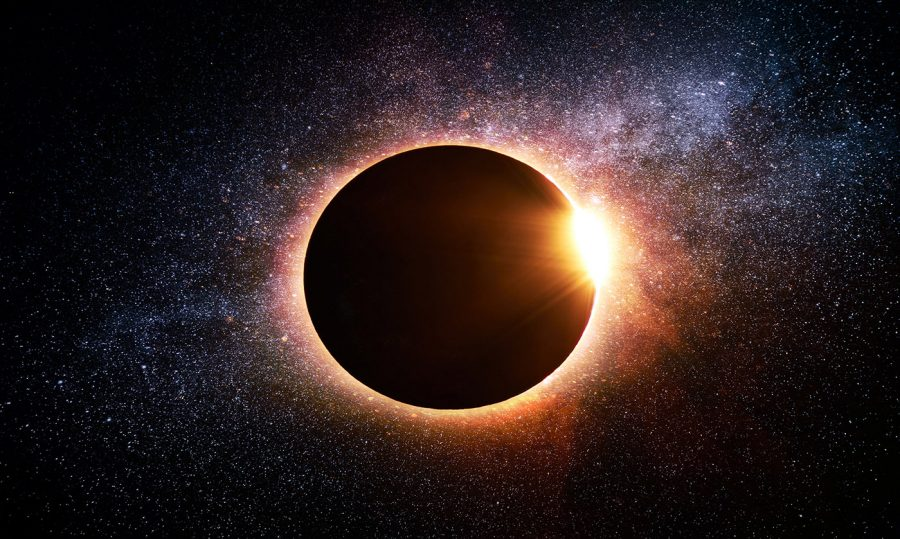 Solar Eclipse in Space - Colorful Stock Photos