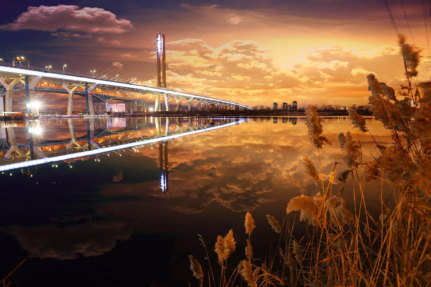 New Champlain Bridge in Montreal City - Colorful Stock Photos