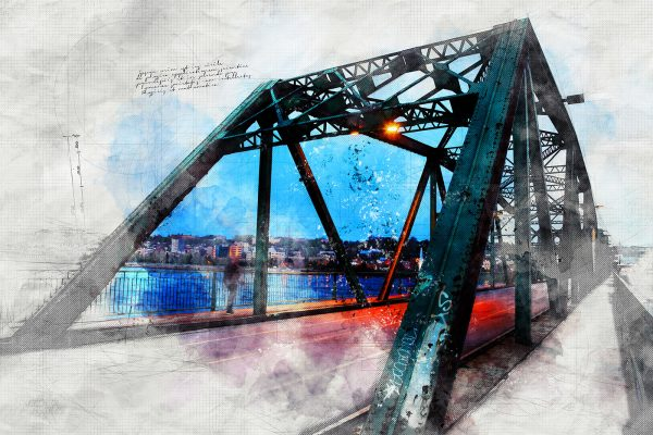 Old Bridge over the Saguenay River Sketch Image
