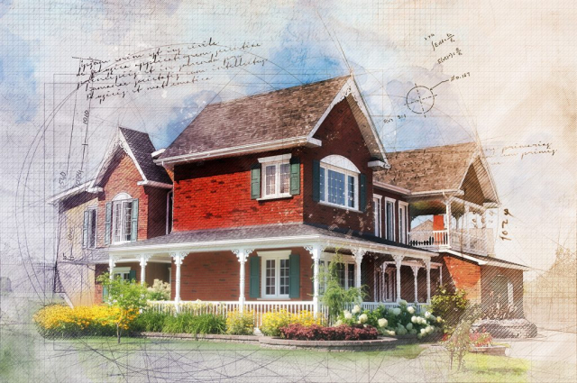 Beautiful Cottage Sketch Image - Colorful Stock Photos