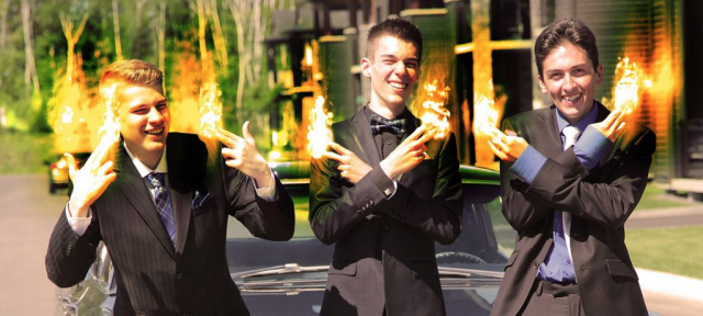 Young Men with Fingers on Fire - Colorful Stock Photos