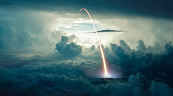 Missile Launch over the Cloudy Sky - Colorful Stock Photos