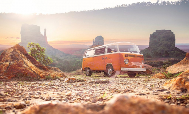 Vintage VW Camper Van Road Trip 01 - Colorful Stock Photos