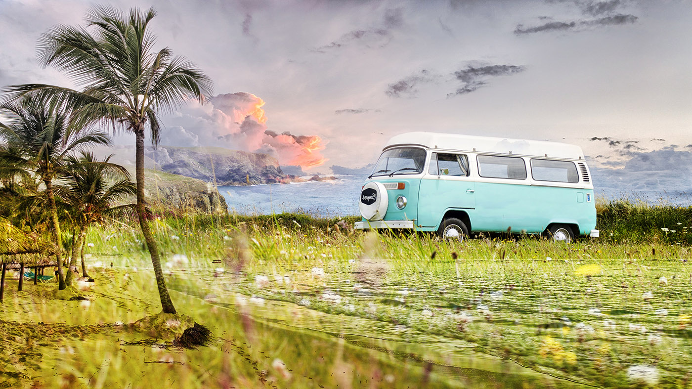 Vintage VW Camper Van Road Trip 02 - Colorful Stock Photos