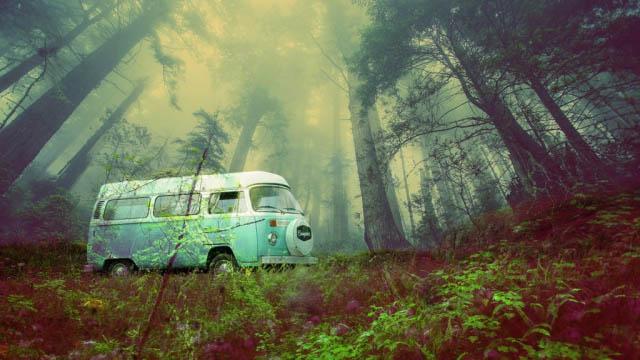 Vintage VW Camper Van Road Trip 03 - Colorful Stock Photos