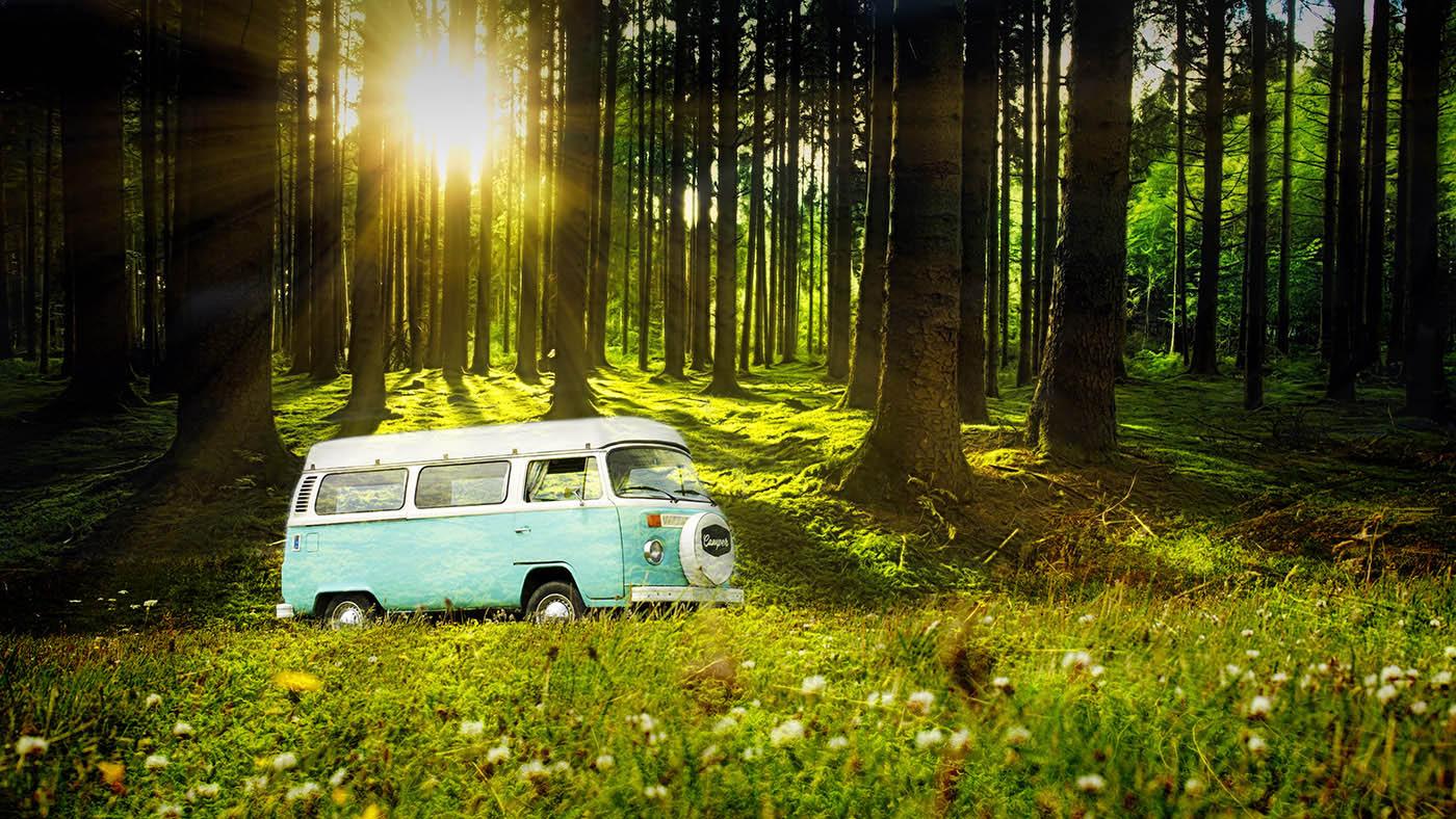 Vintage VW Camper Van Road Trip 04 - Colorful Stock Photos