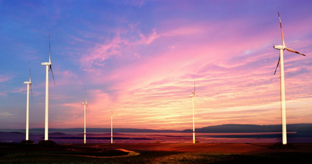 Windmills at Sunset 01 - Colorful Stock Photos