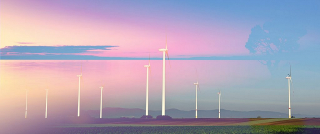 Windmills at Sunset 02 - Colorful Stock Photos