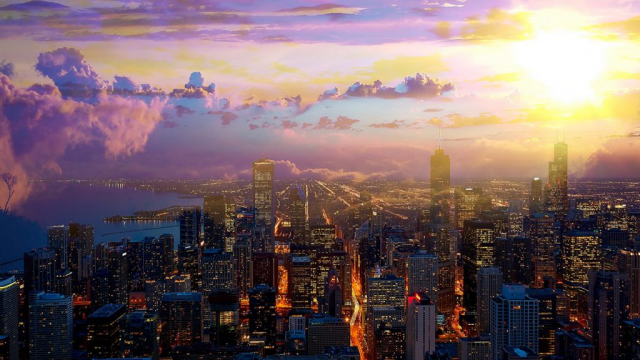 Beautiful Chicago City at Night 01 - Colorful Stock Photos