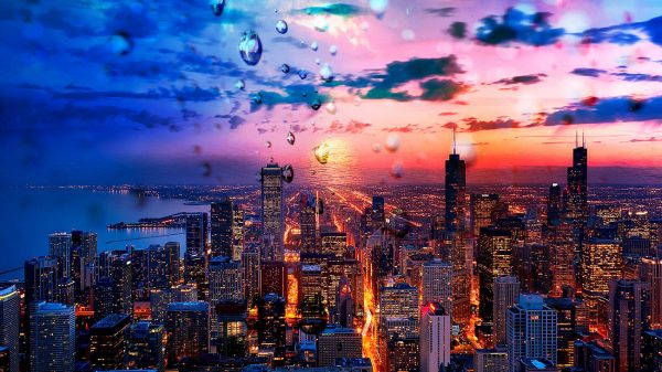Beautiful Chicago City at Night 02 - Colorful Stock Photos