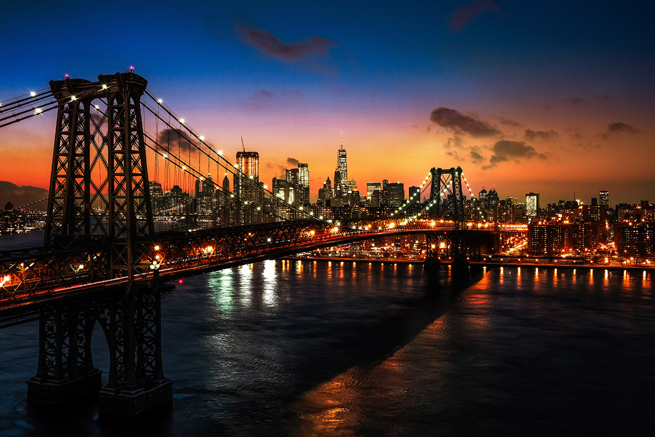 Colorful Sunset over the NYC Williamsburg Bridge 01 - Colorful Stock Photos