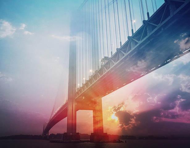 Surreal Suspension Bridge 01 - Colorful Stock Photos