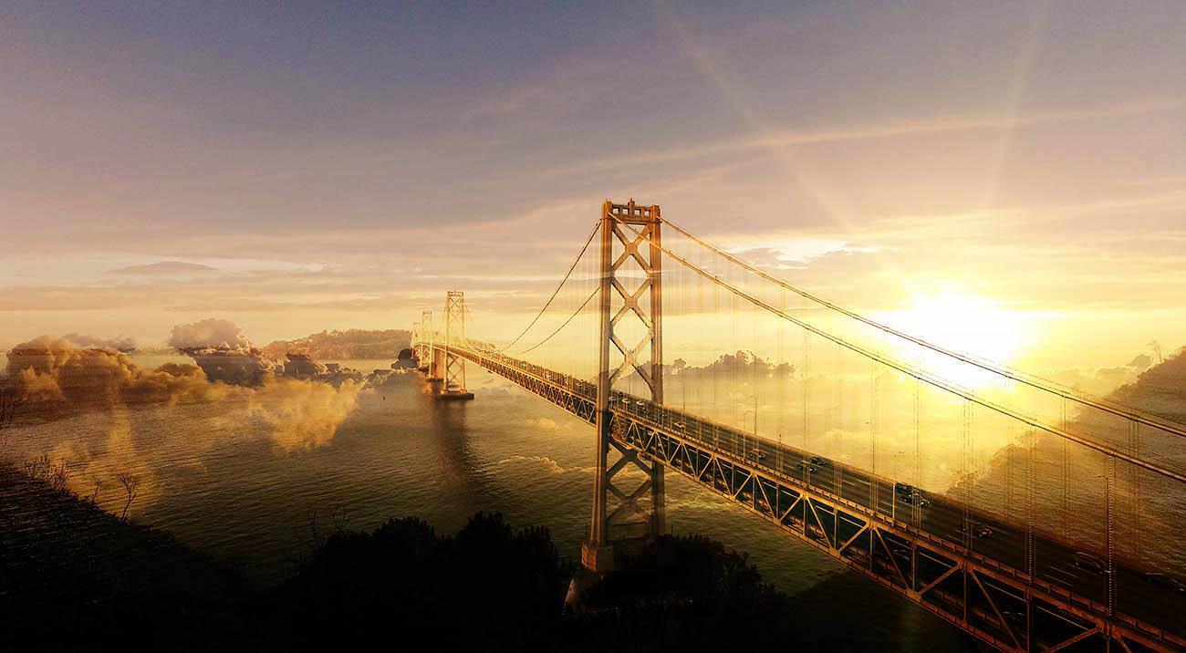 Surreal Suspension Bridge 02 - Colorful Stock Photos