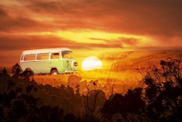 Vintage VW Camper Van Road Trip 05 - Colorful Stock Photos