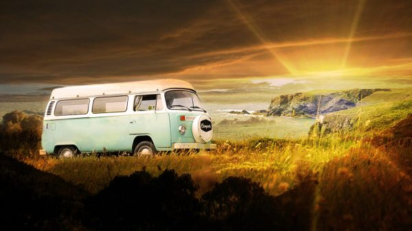 Vintage VW Camper Van Road Trip 06 - Colorful Stock Photos