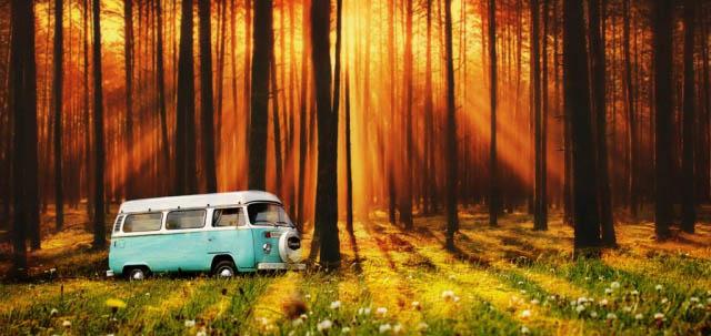 Vintage VW Camper Van Road Trip 07 - Colorful Stock Photos