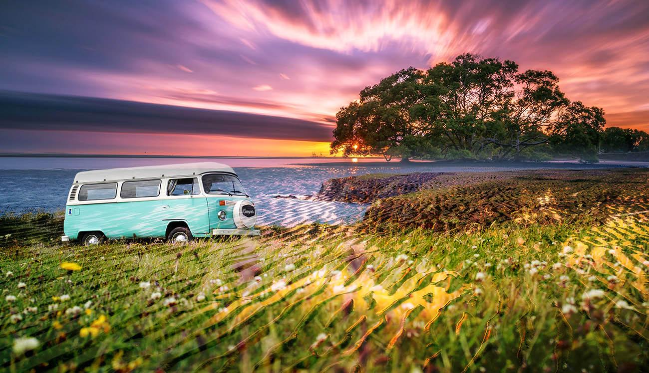 Vintage VW Camper Van Road Trip 08 - Colorful Stock Photos