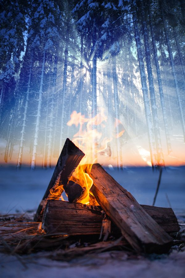 Wintery Wood Fire 01 - Colorful Stock Photos