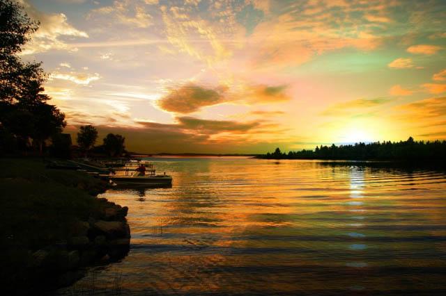Perfect Sunset Lake - Colorful Stock Photos