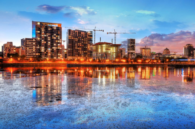 2020 Colorful Downtown Montreal Cityscape at Sunset - Colorful Stock Photos