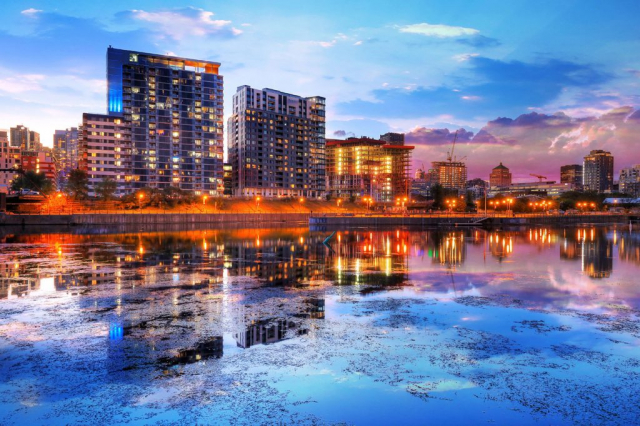 2020 Downtown Montreal City Water Reflection at Sunset - Colorful Stock Photos